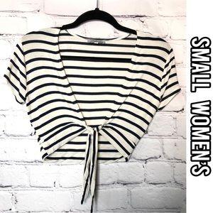 Charlotte Russe short sleeve striped crop top